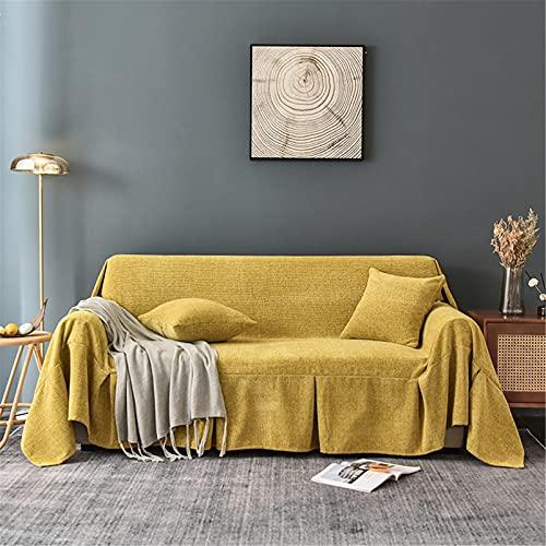Cubiertas de sofá de Chenille - Cubiertas de sofá lavables suaves universales - Sofá funda de sofá Four Seasons Cojín Sofá cubierta - para Sofá Sofá cama Viajes,Amarillo,200 * 300cm