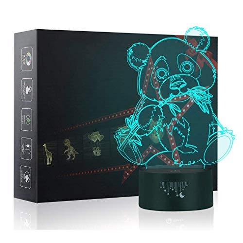 3D Panda Nachtlicht,7 Farben Berührungssteuerung Zuhause Dekor Tischleuchte,Optische Illusion LED Nachtlampe USB Tischlampe, für Kinder Weihnachten Geburtstag beste Geschenk Spielzeug