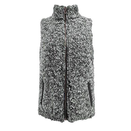 Lulupi Damen Doubleface Jacke Ärmellos Teddy-Fleece Weste Kurze Outdoor Steppweste Reißverschluss Fleeceweste Winterjacke Coat