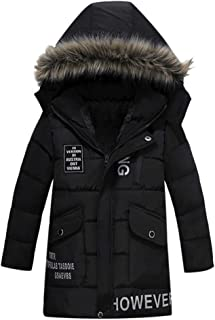 Baby Toddler Boys Girls Coat Winter Warm Down Jacket 2-6 Years Old,Kids Letter Print Fur Hooded Thicken Outerwear