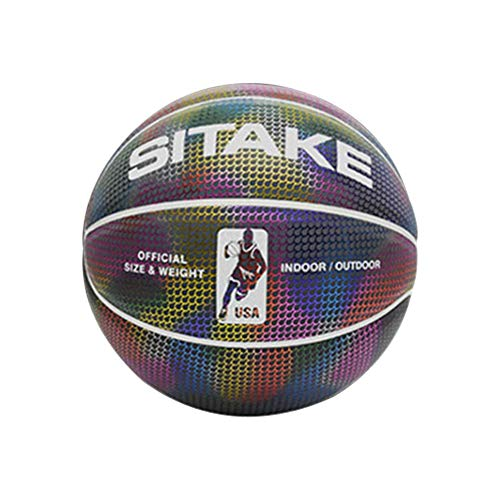 Buy Urnanal Holographic Glowing Reflective Basketball, Luminous Basketball Light Up Camera Flash Glo...