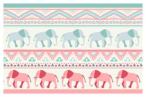 dekodino Kinderzimmer Bordüre Borte Elefanten Afrika Safari Muster selbstklebend
