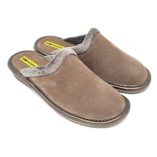 Nordikas 234 Women's Comfy Slide Slippers, Genuine Suede Fuzzy Wool-Like Plush Fleece Lined Clog, Relaxed Fit Slip-On House Shoes, Indoor/Outdoor, Made in Spain