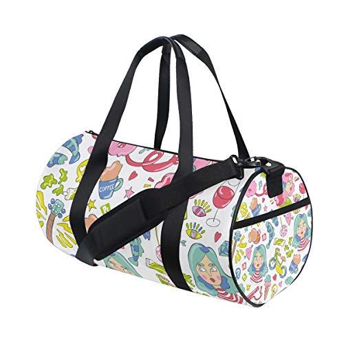 ZOMOY Sporttasche,Mädchen Gitarren Kaffeetasse Bonbon Fische,Neue Druckzylinder Sporttasche Fitness Taschen Reisetasche Gepäck Leinwand Handtasche