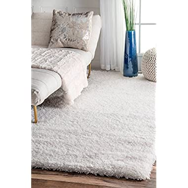 nuLOOM Soft & Plush Nursery Solid Kids Shag Area Rugs, 8' x 10', Snow White