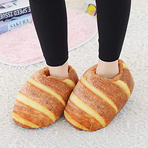 Bread Slippers, Creative Simulation Bread Plush Novelty Slippers, Non-Slip Warm Indoor Carpet Shoes Funny Slippers for Kids, Adult Autumn Winter Slippers Warm Home Shoes for Men Women (A)