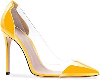 Antimaker Women Transparent Stiletto Pumps 4.75 inches Clear High Heels