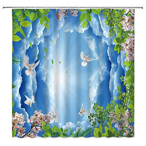 BCNEW Blue Sky Duschvorhang-Set, grüne Blätter, Kirschblüte, Taube, Frühlingspflanze & Tiere, 3D-Hintergr&, Polyester-Stoff, Badezimmer-Dekoration, 178 x 178 cm, mit Hakenloch