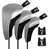 Andux Funda de Palo de Golf para Drivers Maderas con Intercambiable No. Etiqueta Set de 3 MT/mg03 Negro/Gris