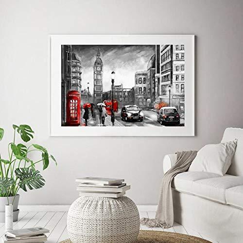 Geen lijst Londen Street Landschap Olie ng canvasdruk romantisch paar en rode paraplu kunstwerk poster Home muurkunst