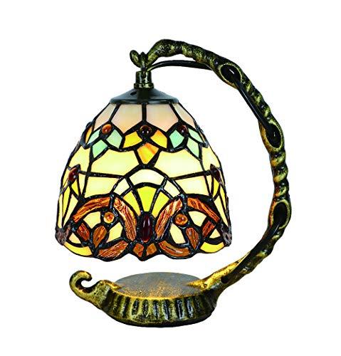 Tokira Lámpara de Mesa Tiffany en Estilo Barroco, Mini Pantalla Retro de Vidrio Manchado de 5 Pulgadas, Cómoda Lámpara de Noche en La Sala de Estar, Decoración Navideña Para Niños