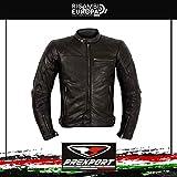 Prexport Giubbino Giacca Pelle Moto Vintage Nero GHOST Protezioni CE Rimovibili (NERO, 52)