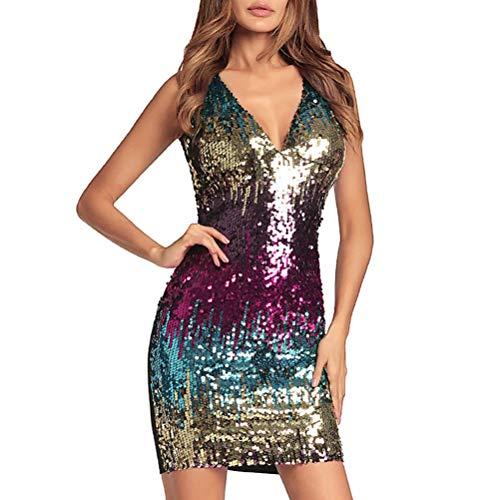 Sexy einteiliges Kleid schöne V-Ausschnitt glänzenden Gallus Rock für Frau Dame weiblich (blau, XXL Größe)