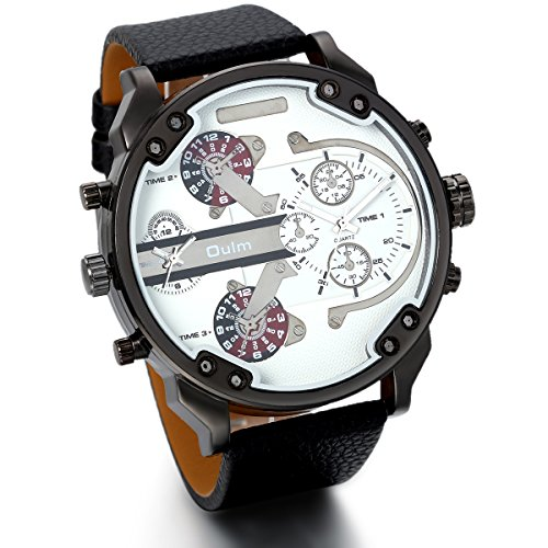 JewelryWe Herren Armbanduhr, Analog Quarz, Fashion Casual große Sport Leder Armband Uhr mit Dual Zeitzonen Zifferblatt, Schwarz