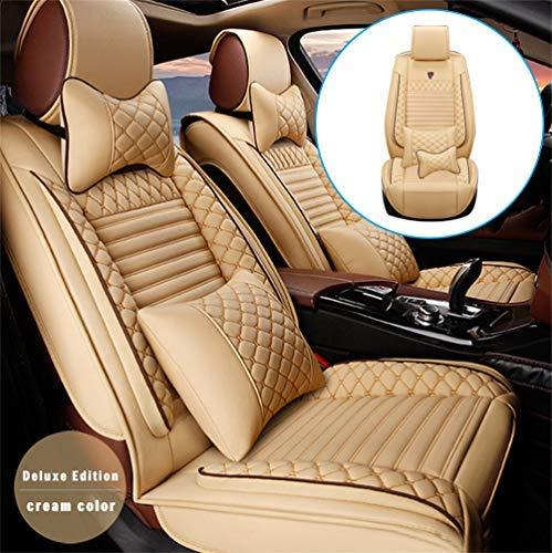 Handao-US Leder Vordersitze Sitzbezüge-Set für F iat 500/500c/500x 2er Set Auto-Zubehör Innenraum Sitzschoner (Farbe :Beige)