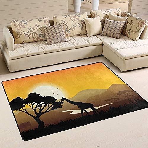 Fun-World Area Rug Tapis Africain coloré Moderne pour la Chambre à Coucher Salon Tapis de Chambre de bébé Lavable en Machine,150X100Cm