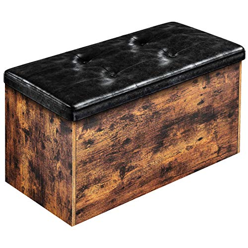 Rolanstar Storage Bench Flip Top Storage Ottoman Bed End Stool with Padded Seat Toy Storage Chest for Entryway Bedroom Living Room 28'' Rustic Brown