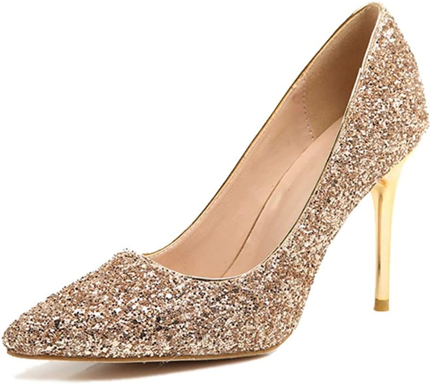 Sam Carle Women's Pump Sequin Thin Heel Pointed-Toe Party Wedding Pumps