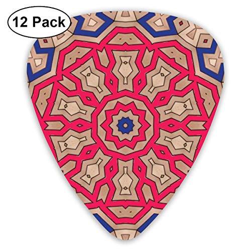 Slaytio 12 Stück Gitarrenplektren Dekoration im orientalischen Stil Muster 0,96 mm, 0,71 mm, 0,46 mm Mode für Gitarre, Mandoline und Bass, Ihre E-Gitarre