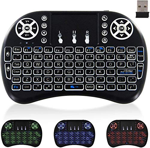 Wireless Mini Keyboard for Computer - Backlit TV Keyboard, JUNWER 2.4Ghz QWERTY Keyboard for PC/Laptop/Xbox/ PS3, Black
