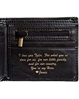 Swanky Badger Personalized Wallet - Bifold Leather Wallet (Black Basic)