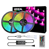 Miheal Led Strip Lights Kit 65.6ft(20M) 5050 SMD RGB Flexible LED Tape Lights Non-Waterproof with DC24V UL Power Supply 44Key IR Remote Controller for Under Cabinet Lighting Bedroom, Living Room White