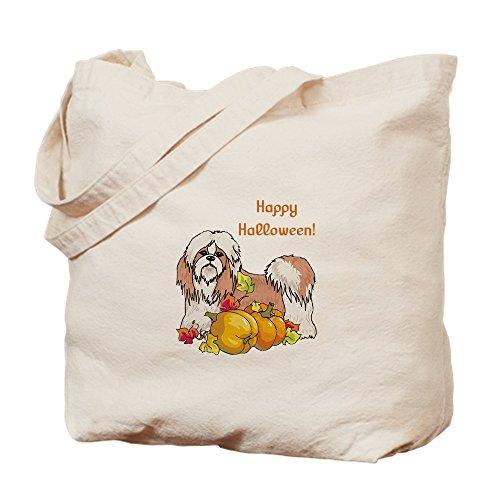 CafePress – Happy Halloween Shih Tzu – Naturleinen-Einkaufstasche aus Stoff