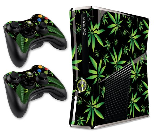 247 Skins Graphics kit Sticker Decal Compatible with Xbox 360 Slim and Controllers - Weeds Black
