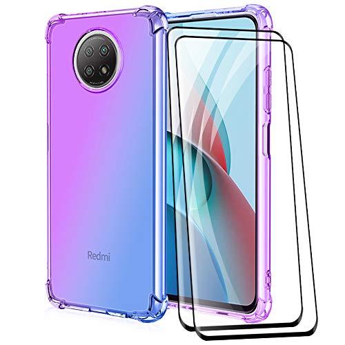 ALAMO Funda de Degradado Vistoso para el Xiaomi Redmi Note 9T 5G, Carcasa de Translúcido TPU Silicona con Antigolpes Bumper [ Protector de Pantalla Cristal Templado ] - Azul-Morado