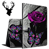 Case for All-New Amazon Kindle Fire 7 Tablet (9th Generation, 2019 Release), Slim Auto Wake/Sleep Protective Smart Cover Case with a Sticker (Deer Head), Purple Rose & Butterfly