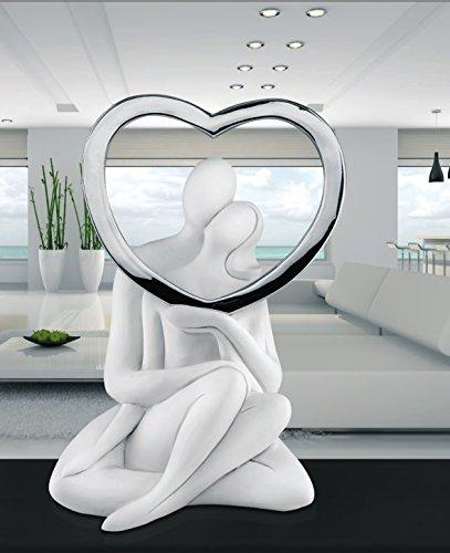 memory srl Scultura da Tavolo soprammobile Moderno Statuetta Innamorati Bianco Argento Idea Regalo Matrimonio Fidanzamento Anniversario Romantico