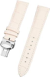 男性と女性の交換用時計STRAのための18ミリメートル白い本物のカーフスキンレザーの時計バンド