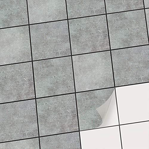 creatisto Fliesenfolie Badezimmer u. Küche Fliesen Deko I Fliesensticker Bad Deko-Folie Badgestaltung - Fliesen überkleben statt Fliesenfarbe oder Fliesenlack I 10x10 cm - Motiv Beton - 20 Stück
