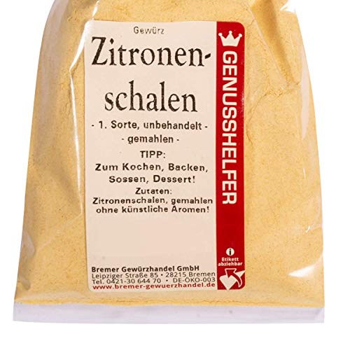 Bremer Gewürzhandel - Zitronenschalen gemahlen 50 Gramm - Aromatisch - Leicht Herb - Ideal zum Backen - ohne Geschmacksverstärker
