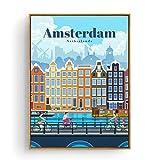 Qqwer Turismo Amsterdam Bangkok Barcelona Berlín Arte Pintura Cartel Impresiones Lienzo Cuadro De La Pared Para La Decoración De La Habitación Del Hogar -50X70Cmx1Pcs -Sin Marco