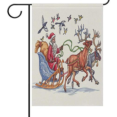 Zome Lag Tuin Vlaggen Kerstmis Kerstman Vogel Tuin Yard Vlag Banner Huis Huis 32X45.7CM,Rendier Slee Gift Kleine Miniatieve Dubbele Zijde Welkom Vlaggen voor Vakantie Bruiloft Party Outdoor
