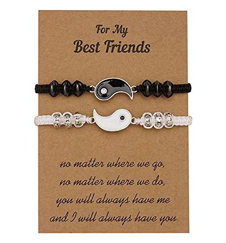 Pulseras del mejor amigo para 2 pulseras a juego del cable ajustable de Yin Yang para la relación de amistad del BFF novio novia