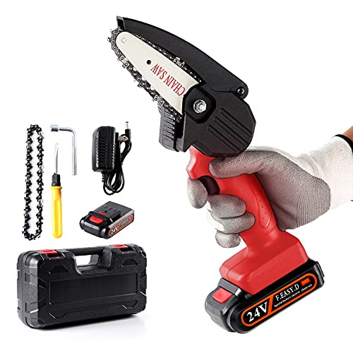 Sharp-tec Mini Chainsaw, Cordless Electric Chainsaw with Safety Lock, Portable 4 Inch 24V Battery Powered Chain Saw with Charger for Tree Trimming and Branch Wood Cutting, Red