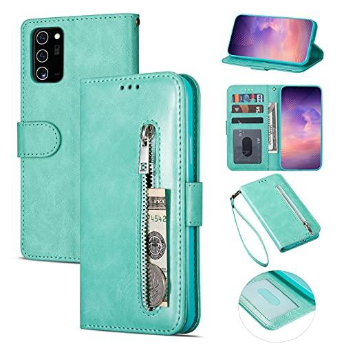 ZTOFERA Samsung A72 Hülle, Magnetisch Folio Flip Wallet Leder Standfunktion Reißverschluss schutzhülle mit Trageschlaufe, Brieftasche Hülle für Samsung Galaxy A72 - Minzgrün