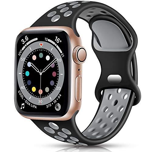 Epova Sport Armband Kompatibel mit Apple Watch Armband 42mm 44mm, Atmungsaktives Weiches Silikon Ersatz Armband Kompatibel mit iWatch SE Series 6 5 4 3 2 1, Schwarz/Grau, S