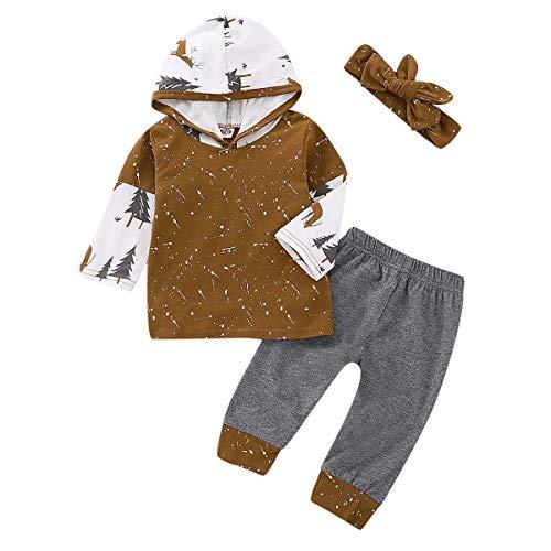 Puseky 3pcs / Set bébé Enfants Bambin à Manches Longues à Capuche Sweat à Capuche + Pantalon + Bandeau Tenues Ensemble (Color : Brown+Gery, Size : 12M-18M)