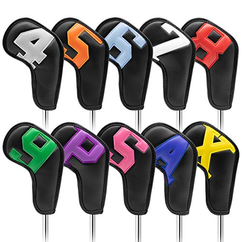 Golf Iron Covers 10pcs,Golf Iron Head Covers Leather Golf Iron Covers Set Colorful Golf Iron Headcovers,Golf Club Head Covers for Iron with Magic Tape Fit Titleist,Callaway,Ping (Black+Color Number)