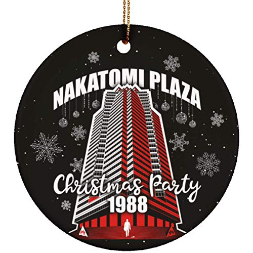 Nakatomi Plaza Christmas Party Christmas Ornament Keepsake - Holiday Flat Circle Porcelain Ceramic Ornament, One Size, Ceramic Circle Ornament/White