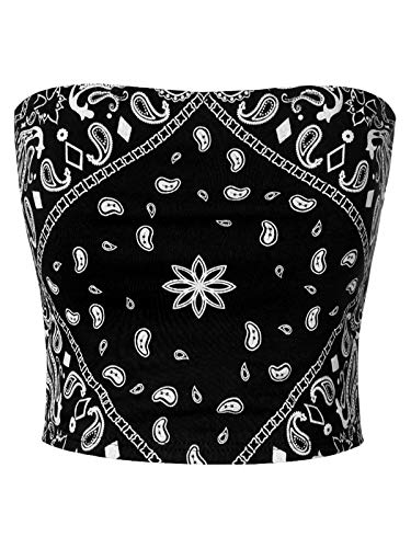MixMatchy Women's Causal Strapless Double Layered Basic Sexy Tube Top Black Bandana Print S