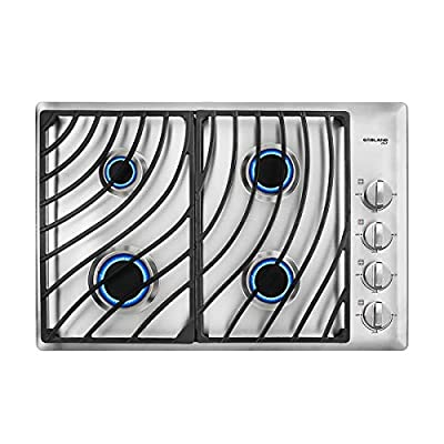 """30"""" Built-in Gas Cooktop, GASLAND Chef GH1304SS 4 Italy Sabaf Sealed Burner Gas Stovetop, 30 inch Drop in Gas Range Cooktop, 28,300 BTU NG/LPG Convertible, Heavy Duty Cast Iron Grates with Metal Knobs"""