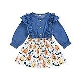 Alwayswin Kinder Mädchen Halloween Kleid Langarm Cowboy Rockkleid Kürbismuster Rüschen Prinzessin...