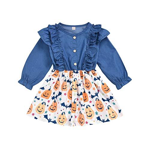 Goosuny Kleinkind Babys Tutu Kleider Lange Hülsen Outfit Set,Rüschen Denim Halloween Kürbis Print Prinzessin Kleid Mädchen Rock Party Festlich Kostüm Outfits