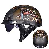 Sunzy Demi Casque de Moto Harley Vintage, Casque de Moto Noir en Forme de Bol en Fibre de Carbone pour Hommes et Femmes Adultes/approuvé par Le Dot,L