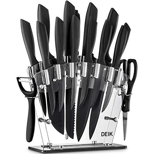 Deik Messerblock Set | 16-TLG Messerset | Profi Kochmesser mit Präzisionsklingen | rostfreier Edelstahl | ergonomische Griffe | inkl. Küchenschere und Wetzstahl Stange | Acrylstand