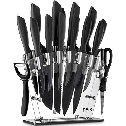 Deik Juego de Cuchillos de Cocina con Soporte Acrílico | 16 Piezas Set Cuchillos Cocina | Negro BO Oxidación Acero...